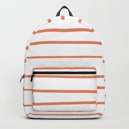 Fringe Orange, Orange Slice, Fiery Sky, Heirloom Tomato Orange Hand Drawn Horizontal Lines on White Backpack