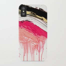 Modern abstract pink black gold brushstrokes splatters acrylic paint iPhone Case