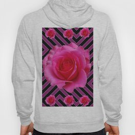 FUCHSIA PINK ROSES ON PUCE-BLACK GRAPHIC Hoody