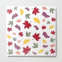 Falling Leaves Autumn Pattern Metal Print