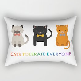 Cats Tolerate Everyone - white Rectangular Pillow