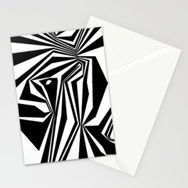 Confinement Black Ink on White Striped Geometric Drawing Stationery Cards