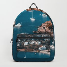 Sailing boats in the island of Leros Backpack