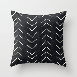 Mudcloth Big Arrows in Black and White Throw Pillow