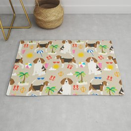 Beagles beagle pattern beach classic socal dog breed pattern palm trees tropical Rug