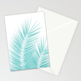 Soft Turquoise Palm Leaves Dream - Cali Summer Vibes #1 #tropical #decor #art #society6 Stationery Cards