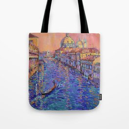 Sunset Over The Grand Canal In Venice -palette knife urban city landscape by Adriana Dziuba Tote Bag