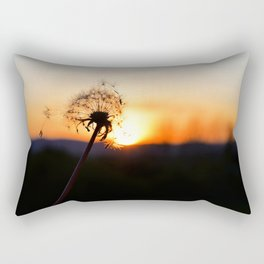 Dandelion blowing in the breeze at Sunset Rectangular Pillow