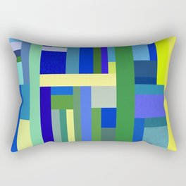 Abstract Blue Lime Pattern Rectangular Pillow