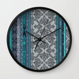Teal, Aqua & Grey Vintage Bohemian Wallpaper Stripes Wall Clock