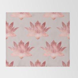 Pink Lotus Flower | Watercolor Texture Throw Blanket