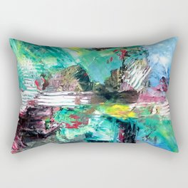 Blue Green Abstract Rectangular Pillow
