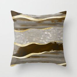 Brown Agate Gold Stripe Glam #1 #gem #decor #art #society6 Throw Pillow