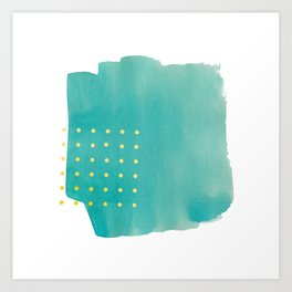 Abstract Teal Watercolor Brushstroke with Yellow Polka Dots Art Print