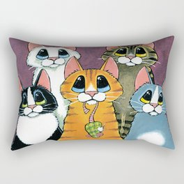 A Feline Family Portrait Rectangular Pillow