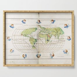 Antique Map Print - Map of the World, 1554 Serving Tray