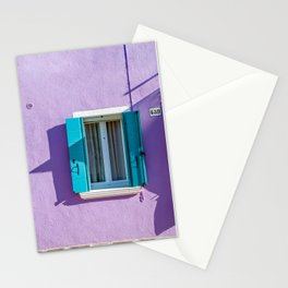 Colorful house with blue shutters   Murano Venice Italy   Minimal fine art architecture photography  Stationery Cards