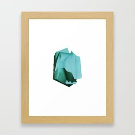 3D turquoise flying object  Framed Art Print