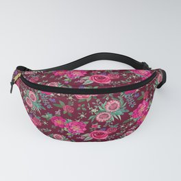 Burgundy Floral Thanksgiving , fall & winter floral in watercolor Fanny Pack