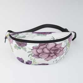 Succulents Deep Violet Lavender Pastel Green Lilac PatternSee Nature Magick for more pretty pastel c Fanny Pack