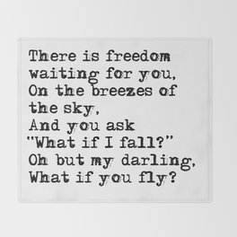 What if you fly? Vintage typewritten Throw Blanket