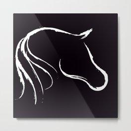 Horse white on black Metal Print