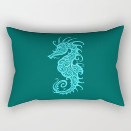 Intricate Teal Blue Tribal Seahorse Design Rectangular Pillow