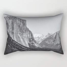El Capitan, Half Dome and Sentinel Rock from Tunnel View bw Rectangular Pillow