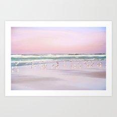 pastel beach Art Print