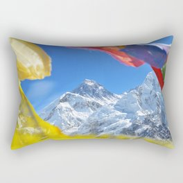 Summit of mount Everest or Chomolungma - highest mountain in the world, view from Kala Patthar,Nepal Rectangular Pillow