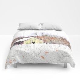Illinois Snow on the Barn Comforters