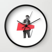 Black and White and Red All Over 7 Wall Clock