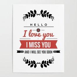 I love you lettering design Poster