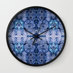 Frozen floral, nature, woodland, hippie, mandala, psychedelic Wall Clock
