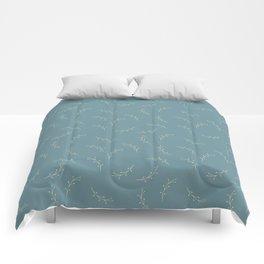 Ferns on Blue by Deirdre J Designs Comforters