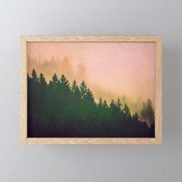 Cascadia Green Trees and Sunset Framed Mini Art Print