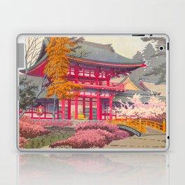 Japanese Woodblock Print Vintage Bright East Asian Red Pagoda Spring Garden Laptop & iPad Skin