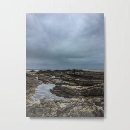 Stormy Tide Pool - Bude, England Metal Print