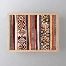 Salé  Antique Morocco North African Flatweave Rug Print Framed Mini Art Print