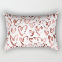 Rose Gold Love Hearts on Marble Rectangular Pillow