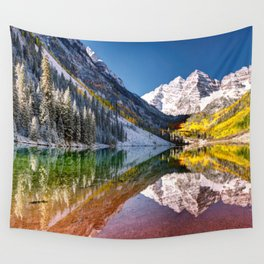 OLena Art Maroon Bells And Maroon Lake Near Aspen Colordo Wall Tapestry