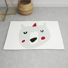 Cute holiday bear white Rug