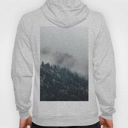 Misty Foggy Minimalist Landscape Photography Pine Forest Hoody