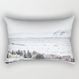 Thingvellir National Park-Coloured Houses Rectangular Pillow