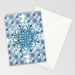 Blue Rhapsody Patterned Mandalas Stationery Cards