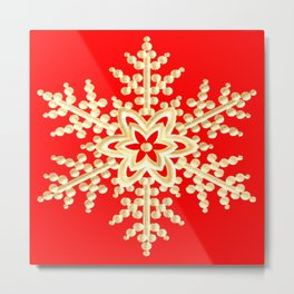Snowflake in a Red Field Metal Print