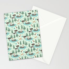 Majesty Pembroke - Happy Corgis Are Fishing In Forest Lake Stationery Cards