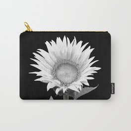 White Sunflower Black Background Carry-All Pouch