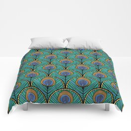 Glitzy Peacock Feathers Comforters