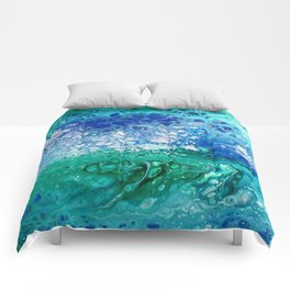 Colors of the Sea No.3 / acrylic pour art Comforters